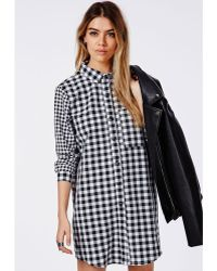 Missguided Contrast Gingham Shirt Dress Black/White - Lyst