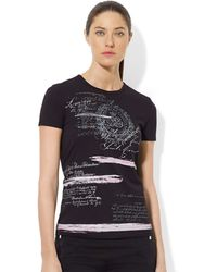 Lauren by Ralph Lauren Graphic Cotton Crewneck Tee - Lyst