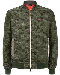Armani Jeans Logo Print Bomber Jacket - Lyst