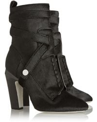 Fendi Calf Hair Ankle Boots - Lyst