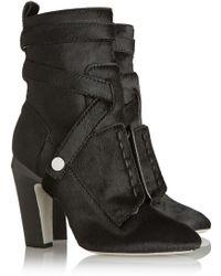 Fendi Calf Hair Ankle Boots - Lyst