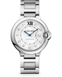 Cartier Ballon Bleu De Diamond & Stainless Steel Medium Automatic Bracelet Watch - Lyst