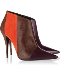 Narciso Rodriguez | Sarah Leather, Suede And Watersnake Ankle Boots | Lyst