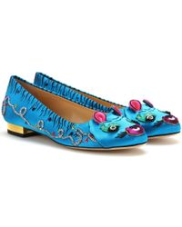 Charlotte Olympia Crouching Tiger Satin Ballerinas - Lyst