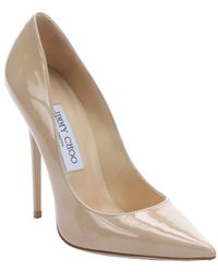 Jimmy Choo Nude Patent Leather 'Anouk' Stiletto Pumps - Lyst