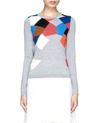 Diane von Furstenberg 'Florencia' Diamond Patchwork Wool Sweater - Lyst