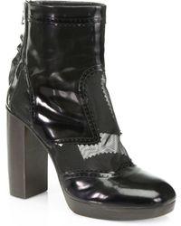 Christopher Kane Polished Leather Mesh Platform Ankle Boots - Lyst