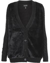 Topshop Faux Fur Front Cable Cardigan  Black - Lyst