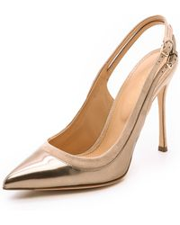 Sergio Rossi Collins Slingback Pumps - Rose Gold - Lyst