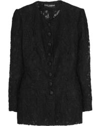 Dolce & Gabbana Padded Florallace Jacket - Lyst