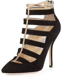 Jimmy Choo Freeze Strappy Cage Pump Blackgold - Lyst