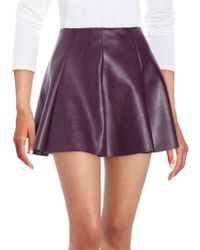 Lord + Taylor Gorde Faux Leather Skirt - Purple