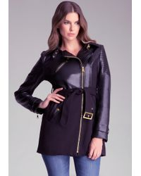 Bebe Faux Leather Trench Coat - Lyst