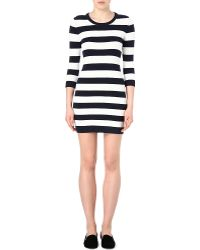 French Connection Stretch-knit Striped Black and White Dress - Lyst