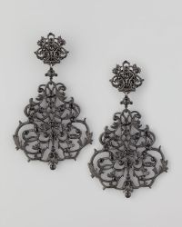 Jose & Maria Barrera Lace Scroll Chandelier Earrings black - Lyst