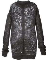 Rick Owens Loose Crochet Knit Sweater - Lyst