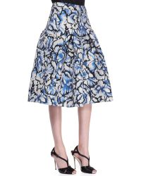 Carolina Herrera Flared Feather Floral Skirt Ivoryblackblue - Lyst