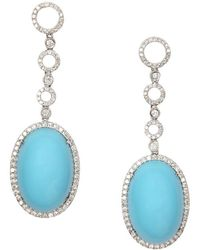 Vendoro - Turquoise And Diamond Drop Earrings - Lyst