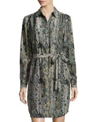 Minnie Rose - Python-print Silk Shirt Dress - Lyst