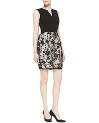 Halston Heritage Solid Knit  Floral Dress - Lyst