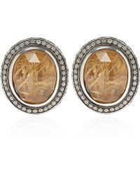 Stephen Dweck - Silver Oval Quartz And Diamond Clip-on Earrings - Lyst