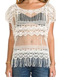 Gypsy Junkies - Kali Crochet Tee in Ivory - Lyst