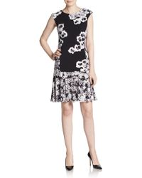 Ellen Tracy Floral Print Fit-And-Flare Dress - Lyst