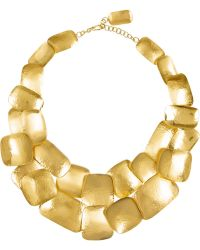 Herve Van Der Straeten Hammered Goldplated Necklace - Lyst