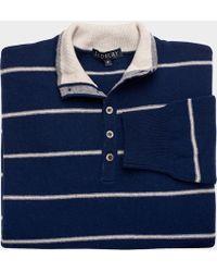 Ledbury The Navy Striped Warren Cashmere Polo Sweater - Lyst