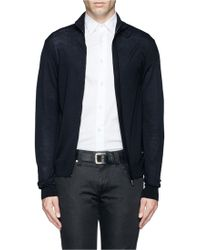 Armani Virgin Wool Zip Up Cardigan - Lyst