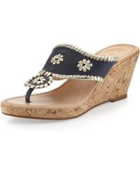 Jack Rogers Marbella Leather Wedge Sandal Navy Platinum - Lyst