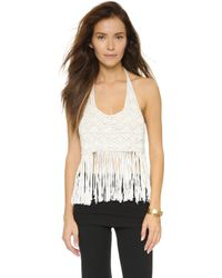 House of Harlow 1960 - Halter Fringe Top - Egret - Lyst