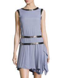 Philosophy di Alberta Ferretti Bead Trim Pleated Dress - Lyst