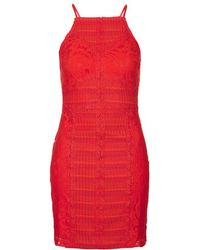 Topshop Strappy Lace Bodycon Dress - Lyst