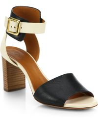 Chloé Bicolor Leather Buckle Sandals white - Lyst