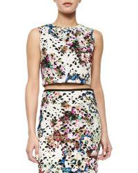 Nicole Miller Artelier Floral Lace Crop Top - Lyst