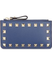 Valentino Studded Zip Card Holder Indigo - Lyst
