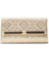 Diane von Furstenberg 440 Envelope Metallic Weaved Leather Clutch - Lyst