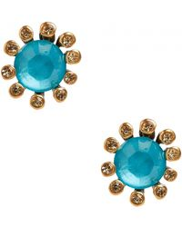 Oscar de la Renta Jeweled Button Earrings Jeweled Button Earrings - Lyst