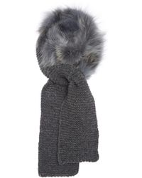 Inverni - Baby Alpaca Wrap Scarf With Coyote Fur - Lyst
