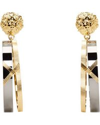 Versus  Gold and Gunmetal Hanging Hoop Anthony Vaccarello Edition Earrings - Lyst