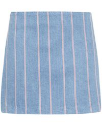 T By Alexander Wang Striped Denim Mini Skirt blue - Lyst