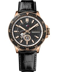 Tommy Hilfiger Mens Automatic Black Crocembossed Leather Strap Watch 46mm - Lyst