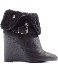 Burberry Fowler Leather Ankle Boots with Shearling - Lyst