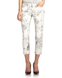 J Brand Aubry Low-Rise Cropped Marble-Print Skinny Jeans - Lyst