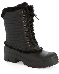 Hunter Original Shearling-Lined Patent Pac Boots - Lyst