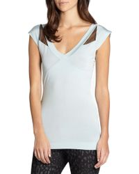 Just Cavalli Mesh Detail Jersey Top - Lyst