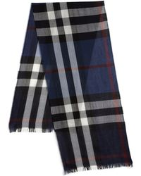 Burberry | Navy Signature Plaid Scarf | Lyst