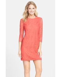 Cynthia Steffe Hallie Lace Shift Dress red - Lyst