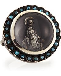 Katie Design Jewelry - Modern Mary Ring With Blue Diamonds - Lyst